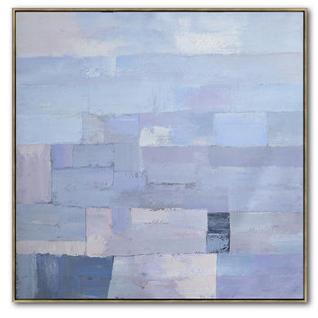 Large Contemporary Art On Canvas, Hand Paint Abstract Painting by Biao, Blue, Navy, Violet, etc. - Celine Ziang Art