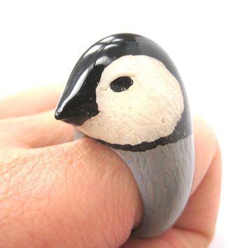3D Baby Penguin Bird Shaped Enamel Animal Ring in US Size 6 to 8 | Limited Edition