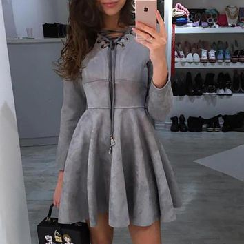 Casual Solid Color V-Neck Hollow Cross Strappy Bodycon Long Sleeve Mini Dress