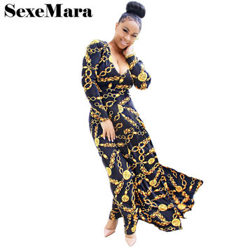Gold Chain Print Deep V Sexy Maxi Dress 2017 Spring Autumn Long Sleeve A Line Black Vintage Women Dresses Robe Longue D35-AC35