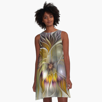 'Abstract Fantasy Flower Fractal Art' A-Linien Kleid by gabiwArt