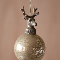 glass ball with deer christmas ornament