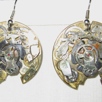 Handmade Brass Disc Steampunk Clock Earrings