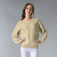 Korean Women's Fashion Round-neck Pullover Knit Plus Size Long Sleeve Sweater [188222799898]