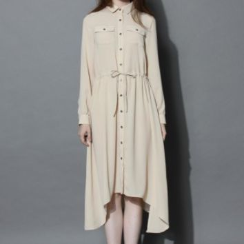 Comfy Hi-lo Shirt Dress in Beige - Retro, Indie and Unique Fashion
