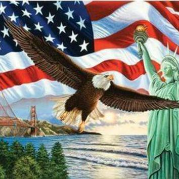5D Diamond Painting American Eagle and Statue of Liberty Kit