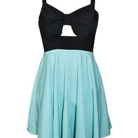 Green Skater Dress With Front Oversized Bow - Choies.com