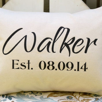Cotton anniversary, Housewarming gift, Personalized pillow, anniversary gift, wedding, name pillow, newlywed pillow, 2nd Anniversary, walker