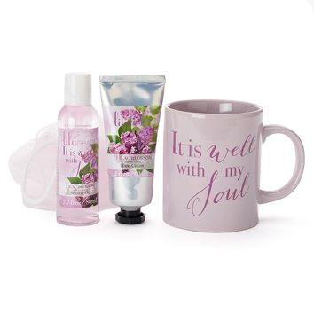 Lila Grace 4-pc. ''It Is Well With My Soul'' Mug Bath Gift Set (Lilac/Cream)