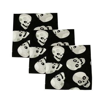 Set of 3 Mechaly Skull Heads 100% Cotton Black Vegan Bandanas