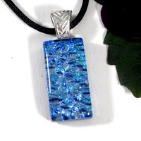 Aqua Blue Dichroic Glass Necklace, Fused Glass Jewelry