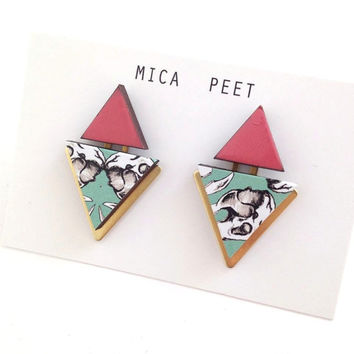 Statement Triangle & Square Geometric Earrings / Studs - Skull Patterned Coral Laser Cut Wood Geometric Jewellery Triangle Jewellery