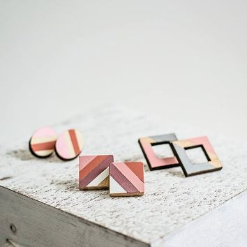 Geometric squares pink stud earrings Everyday minimalist wooden earrings Pink gray coral laser cut jewelry
