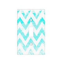 sparkly mint chevron light switch cover