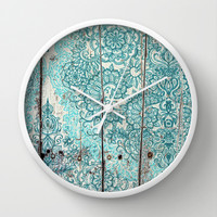 Teal & Aqua Botanical Doodle on Weathered Wood Wall Clock by micklyn | Society6