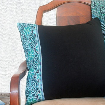 "20"" Teal Pillows Vintage Hmong Embroidery Cross Stitch Cushion Covers"