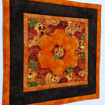 Quilted Table Topper, Centerpiece, English Paper Pieced Hexagons, Halloween Orange and Black