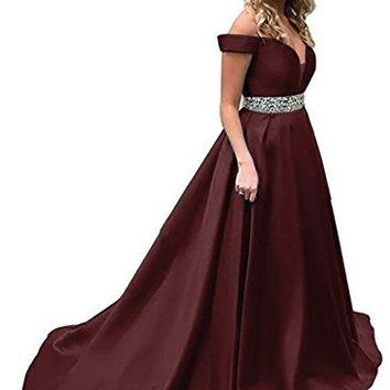 Beaded Off Shoulder Prom Dress A-Line Satin Evening Formal Gown For Women