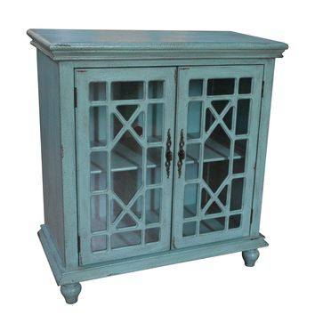 Mendenhall 2 Geometric Glass Door Textured Teal Cabinet By Crestview Collection Cvfzr1625