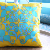 "Hand Painted Silk Cushion. 35x35cm. ""Sultan"". Turquoise, Yellow, Green. Original Design by Ma'at."