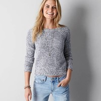 AEO HEATHERED RAGLAN CREW SWEATER
