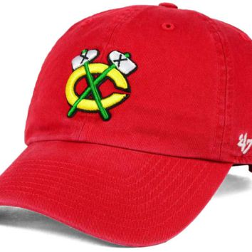 Chicago Blackhawks 47 Brand Hat Clean Up Adjustable Cap Secondary Logo Tomahawks Red