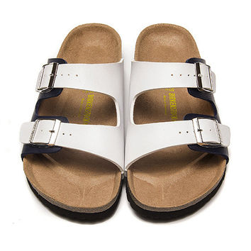 2017 Birkenstock Summer Fashion Leather Cork Flats Beach Lovers Slippers Casual Sandals For Women Men Couples Slippers color wihte&black size 36-45