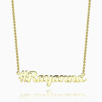 Hashtag Name Necklace 14Kt Gold Plated