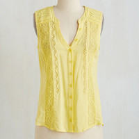 ModCloth Mid-length Sleeveless Eleventh Hour Effortlessness Top in Lemon