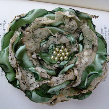 Sage Green with tea stained lace Flower by OurPlaceToNest on Etsy