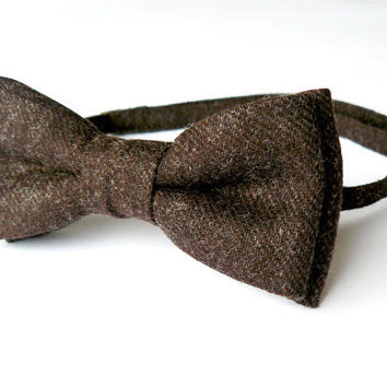 Mens bow tie freestyle groom wedding hipster classic retro necktie chic handmade gift for him by Bartek Design - Dark Brown Chocolate Wool