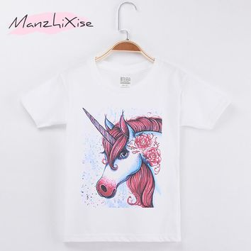 2018 Kids T-shirt For Children Horse Unicorn Hand Painted 100% Cotton Child Girl Short T Shirts Girls Clothes Tops Free Shipping