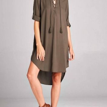 LACE UP BLOUSE DRESS