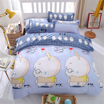 Pig cartoon bedsheet bedlinen coverlet kawaii comforter bed bedding set queen king twin 4/5pc kids boys quilt duvet cover