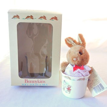 Bunnykins Royal Doulton Stuffed Toy in Mug, Rabbits on Winter Holiday, Toy in Red Dress, English Bone China Collectible, 1980s
