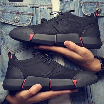 NEW Brand  High quality  all Black Men's leather casual shoes Fashion Breathable Sneakers  fashion flats   LG-11