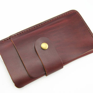 Handmade  leather pouch cover case for iPhone 4 ipod touch ,iphone 4s sleeve iPhone 4s leather sleeve ,iPhone 4 wallet with card holder red