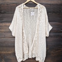 open front knit cardigan - natural