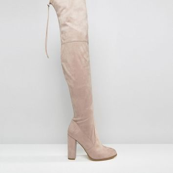 ASOS KINGDOM Stretch Over The Knee Heeled Boots at asos.com