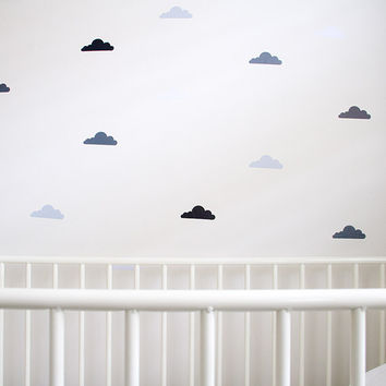 Monochrome Clouds - Removable Nursery Wall Decals - Black, Grey, White