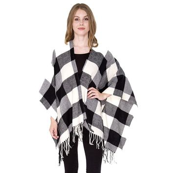 Buffalo Black and White Plaid Fringe Blanket Scarf