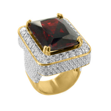 Red Garnet Gemstone 14k Gold Tone Sterling Silver CZ Mens Ring