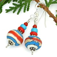 Southwest Lampwork Handmade Earrings, Turquoise Coral Red Sterling Artisan Jewelry