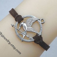 Hunger bird,games jewelry,Bronze bracelet,mocking,bird,jay bracelet,hipster jewelry,charm,couple jewelry,Brown