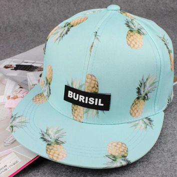 White Pineapple Print Baseball Cap Hat