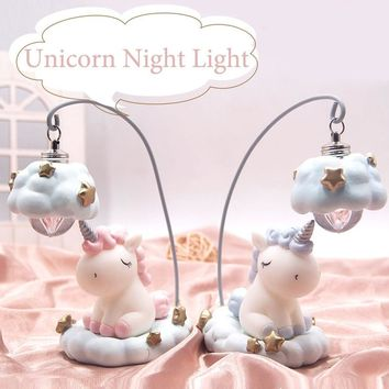 Ins Cartoon Unicorn Lamp LED Night Light Luminaria Baby Nursery Night Lamp Unicorn Toy Dolls For Baby Kids Gift Home Decoration