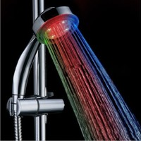 High Quality ABS 7 Colors LED Round Bathroom Hand Shower Head Automatic, Chrome Finish