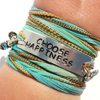 Choose Happiness Silk Wrap Bracelet Motivational Quote Inspirational Jewelry Be Happy Good Luck Yogi Gift For Her Christmas Under 50 C35