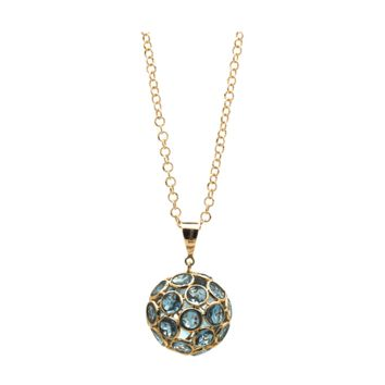 Tresor Collection - London Blue Topaz Ball Pendant in 18k Yellow Gold
