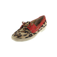 Sam Edelman Womens Sebastian Calf Hair Leopard Print Boat Shoes